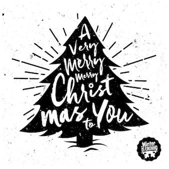 árbol de navidad con lettering
