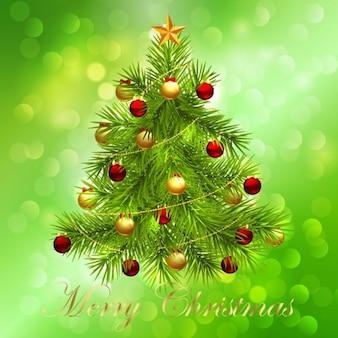 árbol de Navidad en verde bokeh