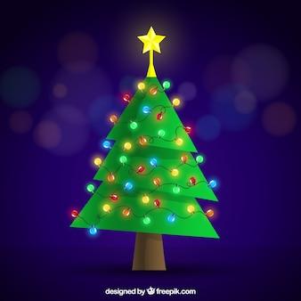árbol de navidad plano con decoración de luces de colores