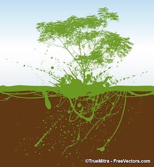 árbol emerge de la tierra