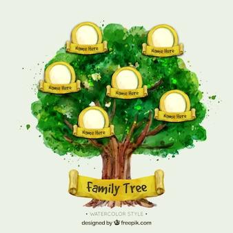 Árbol genealógico de acuarela con elementos amarillos