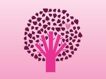 Árbol rosado con los corazones