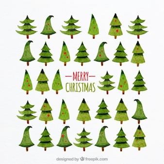 Árboles de navidad de acuarela