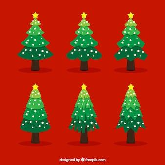 Árboles de navidad planos con estrellas amarillas