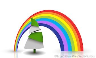Arco iris de colores en el fondo del árbol de navidad