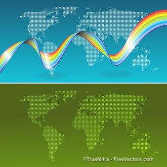Arco iris en el mapa mundial