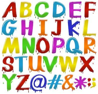 Arco iris letras de colores grandes del alfabeto sobre un fondo blanco