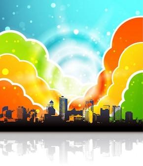 arco iris urbano ilustración vectorial
