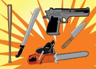 armas homicidas gráficos vectoriales