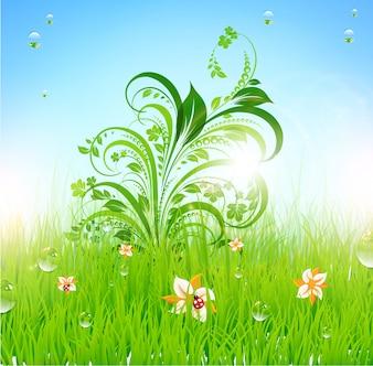 Arte azul prado campo de la belleza