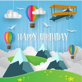 Arte de papel adventista moderno Tarjeta feliz del cumpleaños