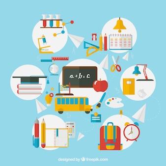 Artículos escolares coloridos infografía
