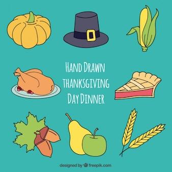Artículos tradicionales para la cena de acción de gracias