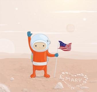 Astronauta de la superficie patriotismo gente linda