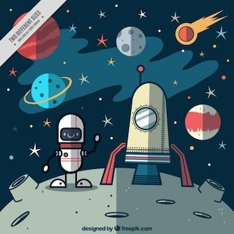 Astronauta divertido con un cohete sobre un fondo planeta