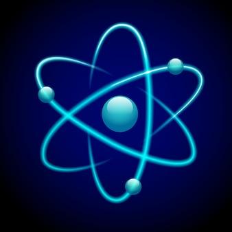 Atom símbolo 3d azul