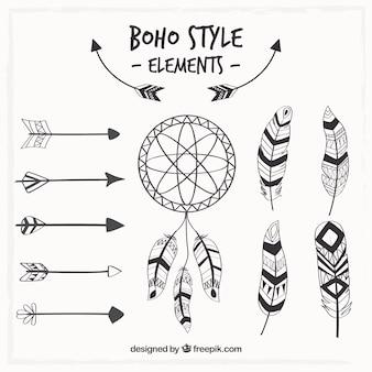 Atrapasueños y elementos bohemios