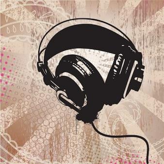 Auriculares grunge radiantes fondo abstracto