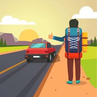 Autoestop de viaje por carretera. Pulgar, hombre, parado, coche