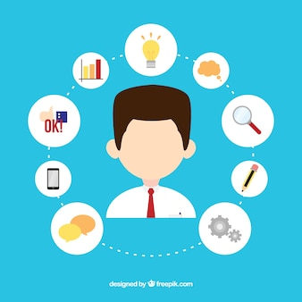 Avatar de negocios con iconos
