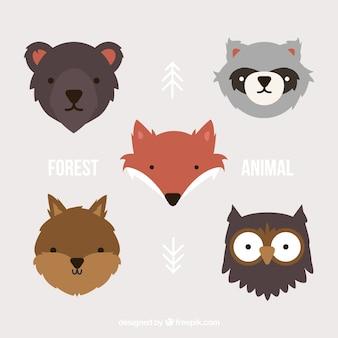 Avatares de bonitos animales del bosque