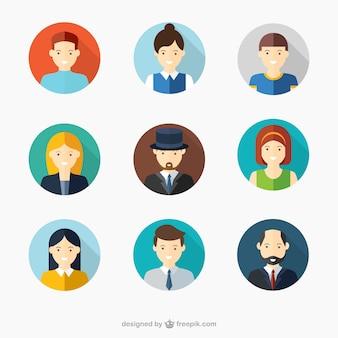 Avatares de caras de hombres y mujeres