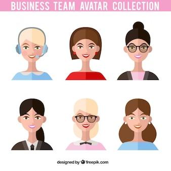 Avatares de un equipo de mujeres trabajadoras