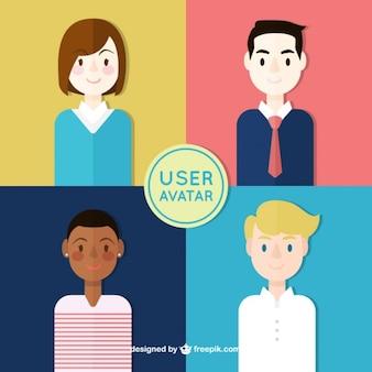 Avatares de usuario de gente simpática en estilo plano