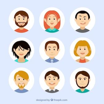Avatares en estilo de dibujos animados