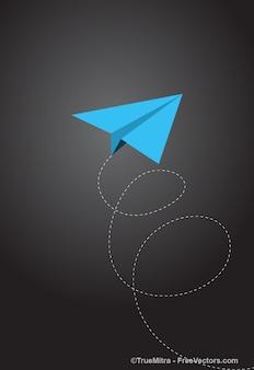 Avión de papel azul que vuela con líneas de puntos