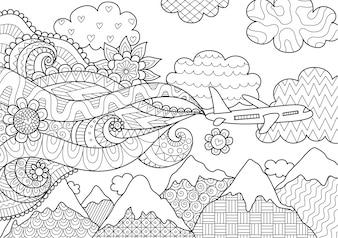 Avión volando sobre montañas