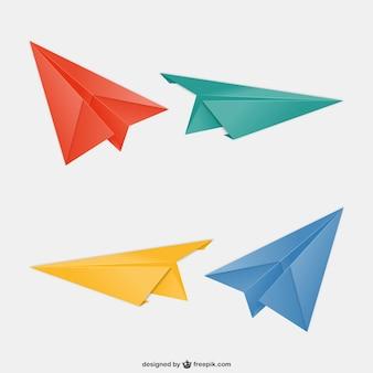 Aviones de papel de colores