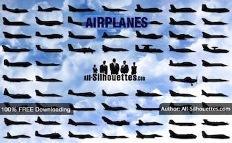 Aviones vector laterales   Todos los Siluetas