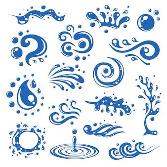 Azul, agua, salpicaduras, ondas, gotas, manchas, decorativo, iconos, aislado, vector