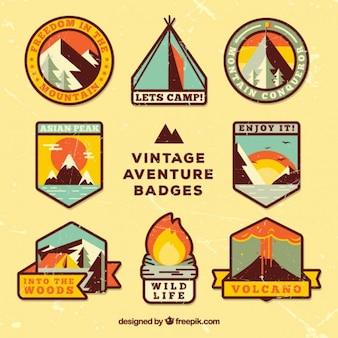 Badges vintage de aventura