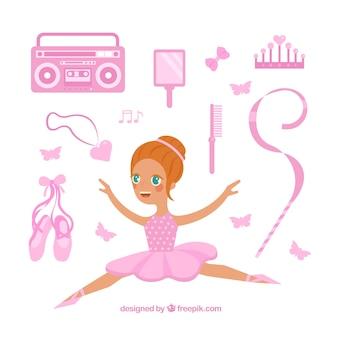 Bailarina con elementos rosa