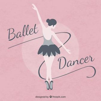 Bailarina de ballet en un fondo rosa en diseño plano