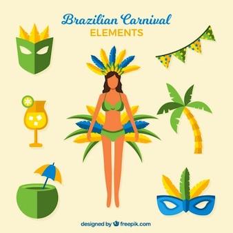 Bailarina y elementos de carnaval de brasil