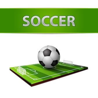 Balón de fútbol y el emblema de campo de hierba