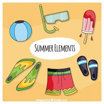 Bañador y elementos de verano dibujados a mano