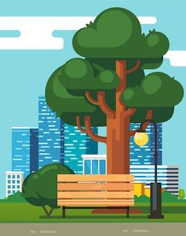 Banco del parque de la ciudad, roble verde grande con rascacielos
