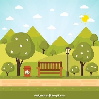 Banco plano en un paisaje de jardín