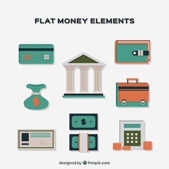 Banco y elementos de dinero en diseño plano