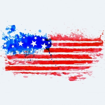Bandera americana hecha con acuarelas