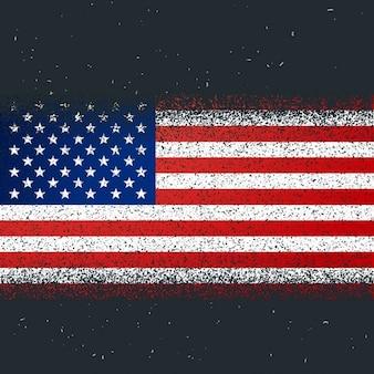 Bandera con textura grunge de américa