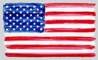 Bandera de eeuu en acuarela