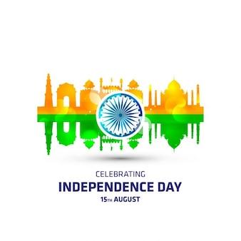 Bandera de la india con monumentos
