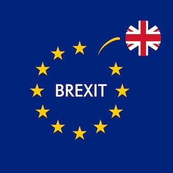 Bandera de reino unido separándose de la de la unión europea