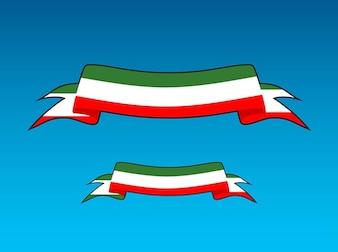 Bandera italiana con la bandera del vector curvado