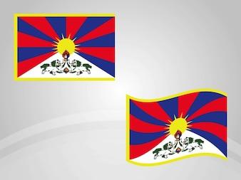 Bandera nacional de vector país Tibet